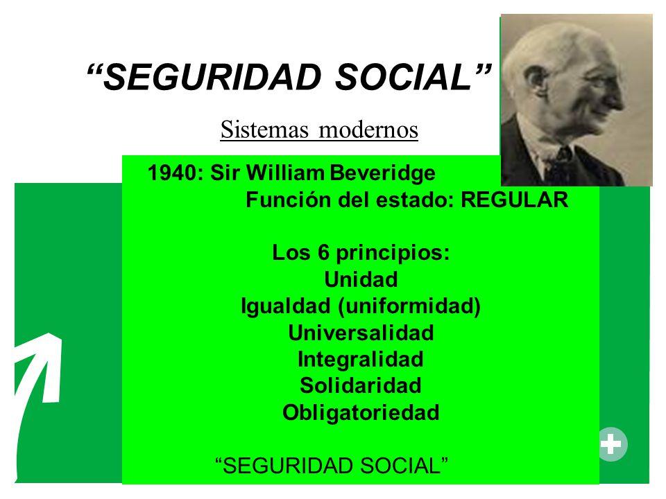 SEGURIDAD SOCIAL 1940: Sir William Beveridge Función del estado: REGULAR Los 6 principios: Unidad Igualdad (uniformidad) Universalidad Integralidad So