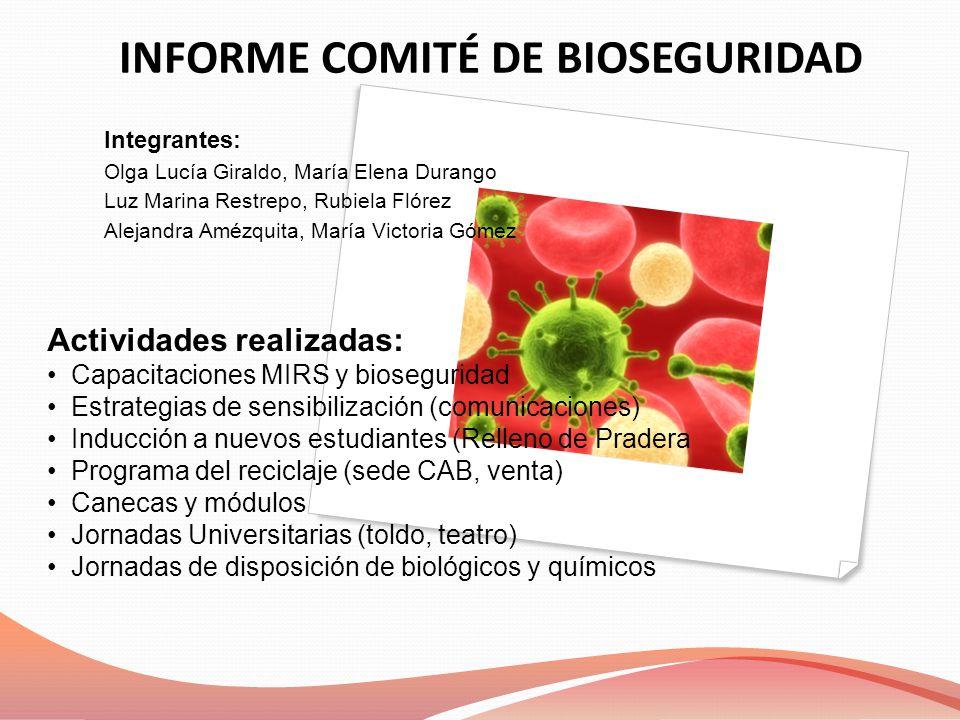 INFORME COMITÉ DE BIOSEGURIDAD Integrantes: Olga Lucía Giraldo, María Elena Durango Luz Marina Restrepo, Rubiela Flórez Alejandra Amézquita, María Vic