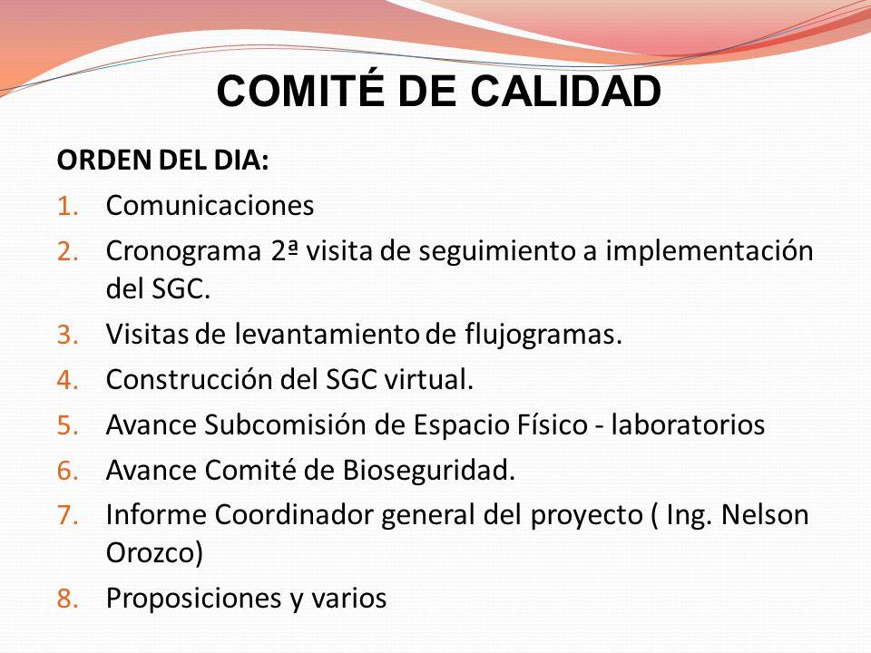 COMITÉ DE CALIDAD ORDEN DEL DIA: 1. Comunicaciones 2. Cronograma 2ª visita de seguimiento a implementación del SGC. 3. Visitas de levantamiento de flu