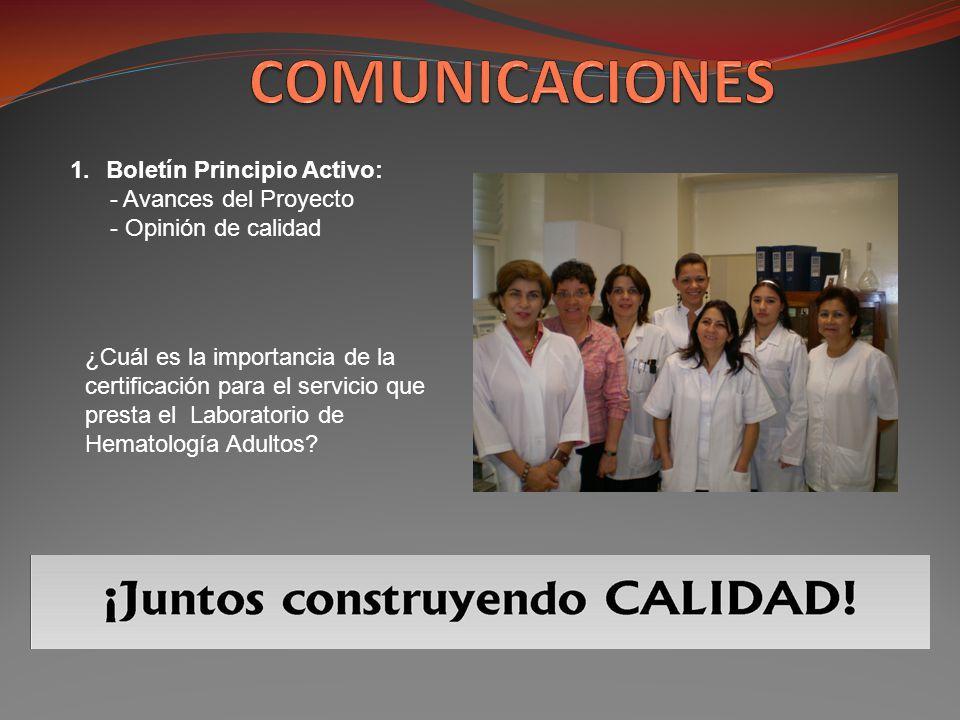 1.Boletín Principio Activo: - Avances del Proyecto - Opinión de calidad ¿Cuál es la importancia de la certificación para el servicio que presta el Lab