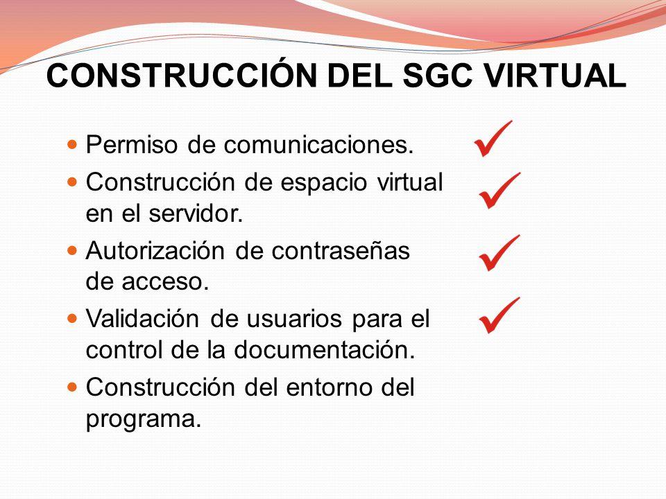 CONSTRUCCIÓN DEL SGC VIRTUAL Permiso de comunicaciones. Construcción de espacio virtual en el servidor. Autorización de contraseñas de acceso. Validac