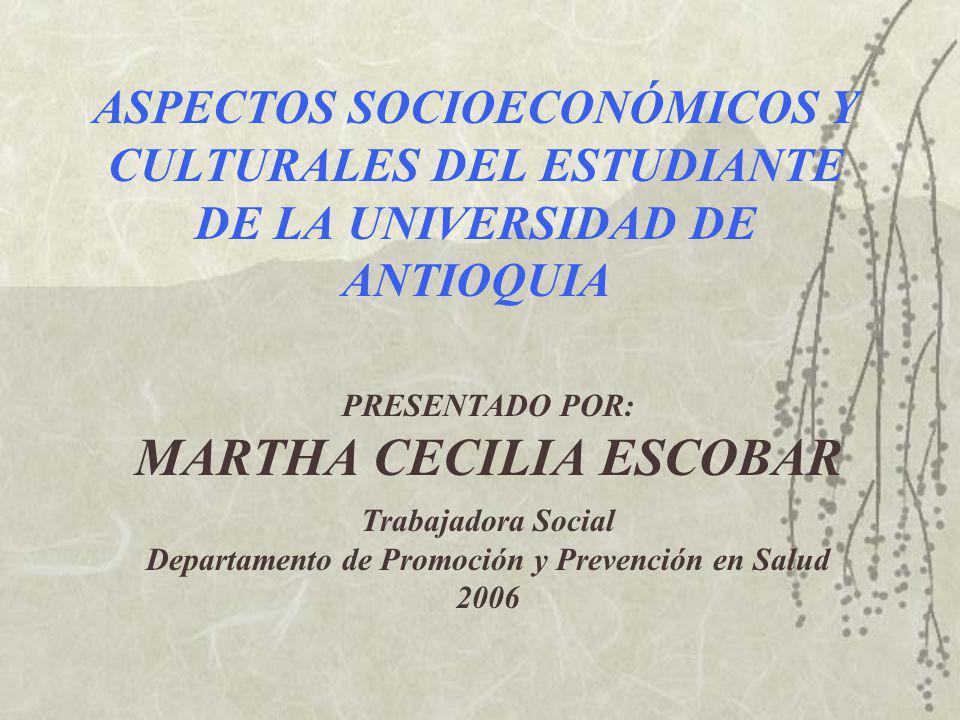 ASPECTOS SOCIOECONÓMICOS Y CULTURALES DEL ESTUDIANTE DE LA UNIVERSIDAD DE ANTIOQUIA PRESENTADO POR: MARTHA CECILIA ESCOBAR Trabajadora Social Departamento de Promoción y Prevención en Salud 2006