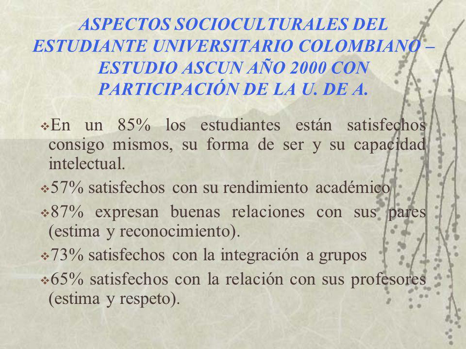ASPECTOS SOCIOCULTURALES DEL ESTUDIANTE UNIVERSITARIO COLOMBIANO – ESTUDIO ASCUN AÑO 2000 CON PARTICIPACIÓN DE LA U.