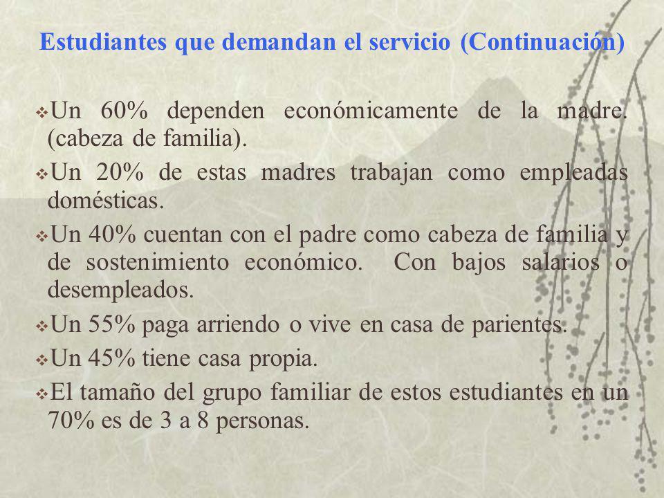 Estudiantes que demandan el servicio (Continuación) Un 60% dependen económicamente de la madre.