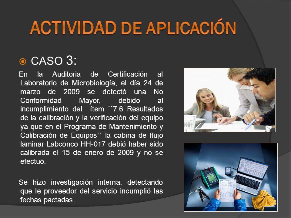 CASO 3: En la Auditoria de Certificación al Laboratorio de Microbiología, el día 24 de marzo de 2009 se detectó una No Conformidad Mayor, debido al in