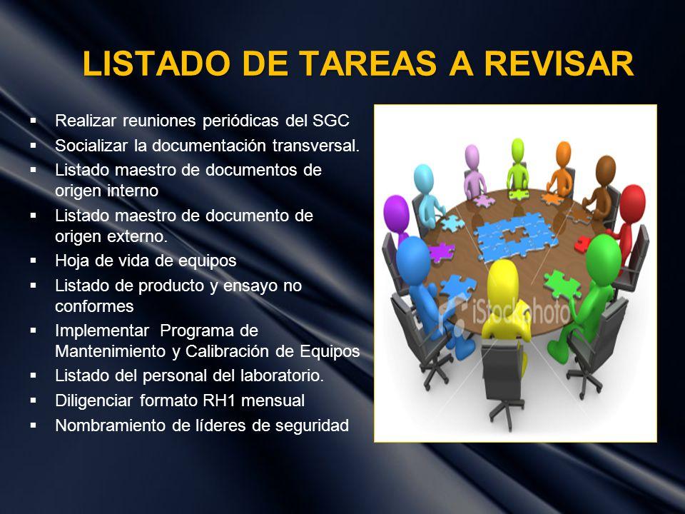 LISTADO DE TAREAS A REVISAR Realizar reuniones periódicas del SGC Socializar la documentación transversal. Listado maestro de documentos de origen int