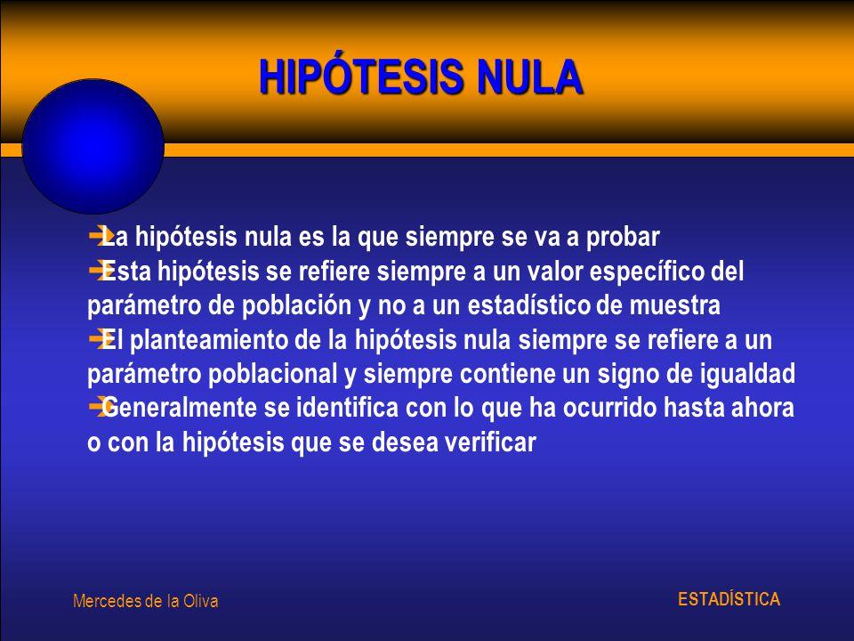 ESTADÍSTICA Mercedes de la Oliva HIPÓTESIS NULA è La hipótesis nula es la que siempre se va a probar è Esta hipótesis se refiere siempre a un valor es