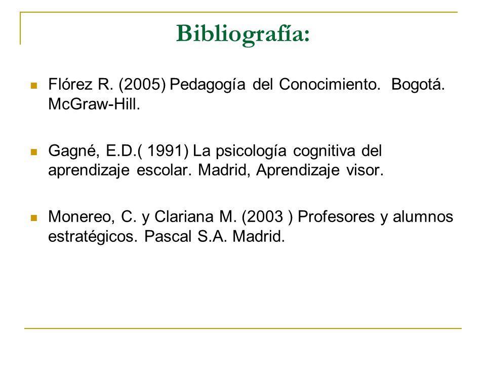 Bibliografía: Flórez R. (2005) Pedagogía del Conocimiento. Bogotá. McGraw-Hill. Gagné, E.D.( 1991) La psicología cognitiva del aprendizaje escolar. Ma
