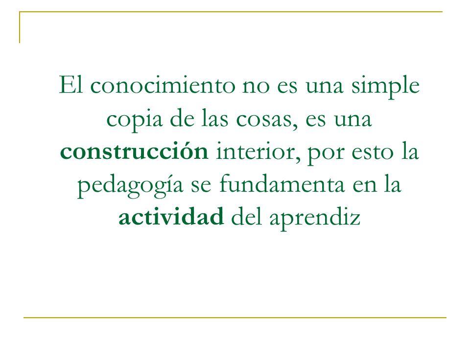 El conocimiento no es una simple copia de las cosas, es una construcción interior, por esto la pedagogía se fundamenta en la actividad del aprendiz
