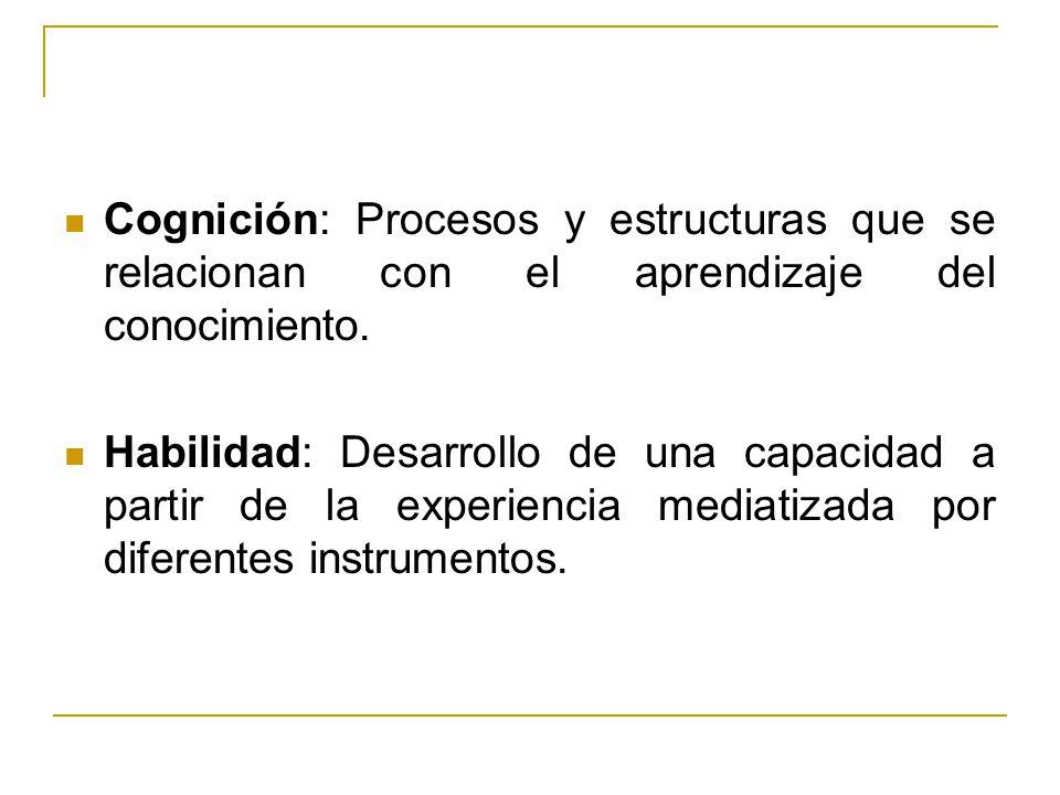 Cognición: Procesos y estructuras que se relacionan con el aprendizaje del conocimiento. Habilidad: Desarrollo de una capacidad a partir de la experie