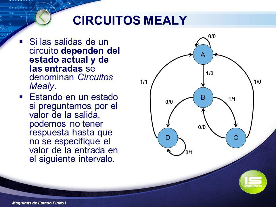 Maquinas de Estado Finito I CIRCUITOS MEALY Si las salidas de un circuito dependen del estado actual y de las entradas se denominan Circuitos Mealy. E