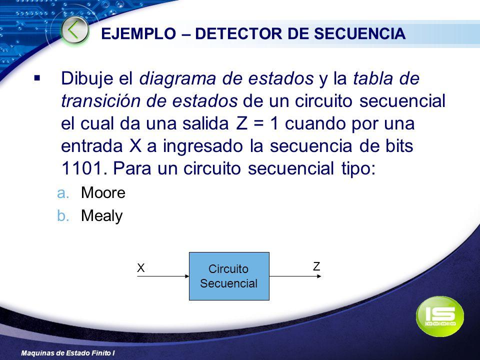 Maquinas de Estado Finito I EJEMPLO – DETECTOR DE SECUENCIA Dibuje el diagrama de estados y la tabla de transición de estados de un circuito secuencia