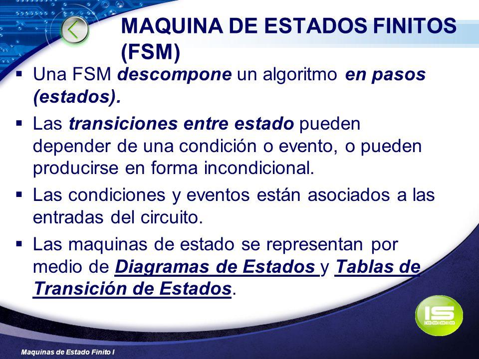 Maquinas de Estado Finito I MAQUINA DE ESTADOS FINITOS (FSM) Una FSM descompone un algoritmo en pasos (estados). Las transiciones entre estado pueden