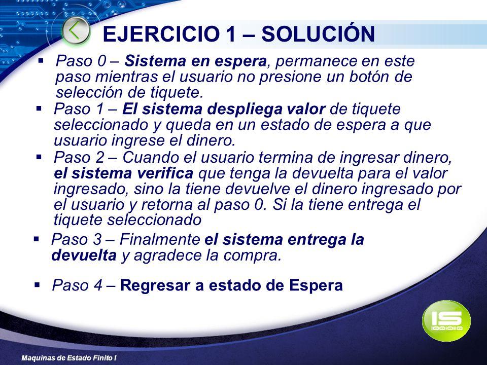 Maquinas de Estado Finito I EJERCICIO 1 – SOLUCIÓN Paso 4 – Regresar a estado de Espera Paso 0 – Sistema en espera, permanece en este paso mientras el