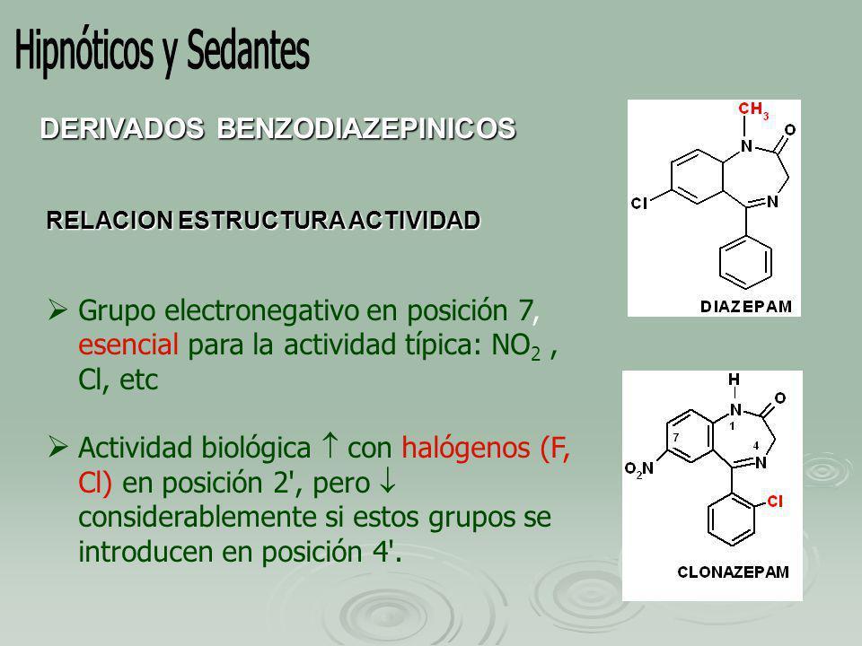 RELACION ESTRUCTURA ACTIVIDAD Grupo electronegativo en posición 7, esencial para la actividad típica: NO 2, Cl, etc Actividad biológica con halógenos (F, Cl) en posición 2 , pero considerablemente si estos grupos se introducen en posición 4 .