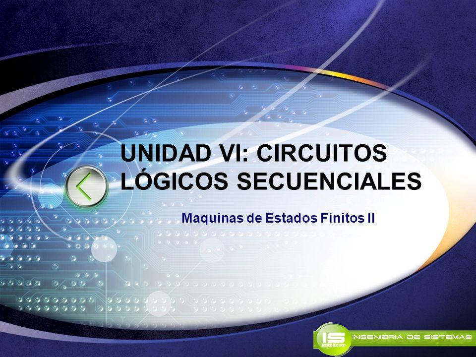 UNIDAD VI: CIRCUITOS LÓGICOS SECUENCIALES Maquinas de Estados Finitos II