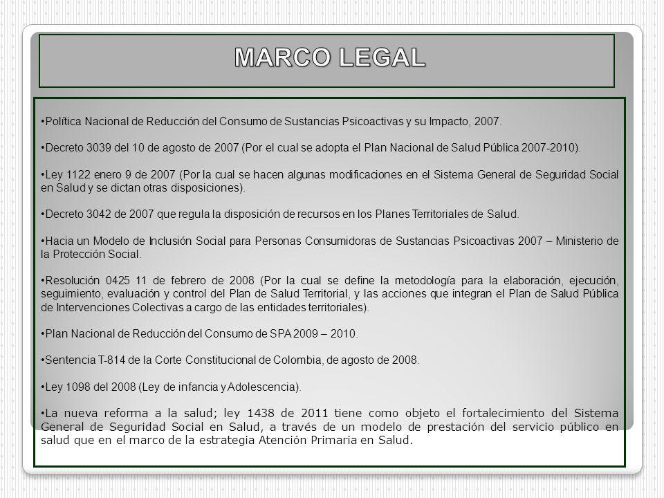 Política Nacional de Reducción del Consumo de Sustancias Psicoactivas y su Impacto, 2007. Decreto 3039 del 10 de agosto de 2007 (Por el cual se adopta