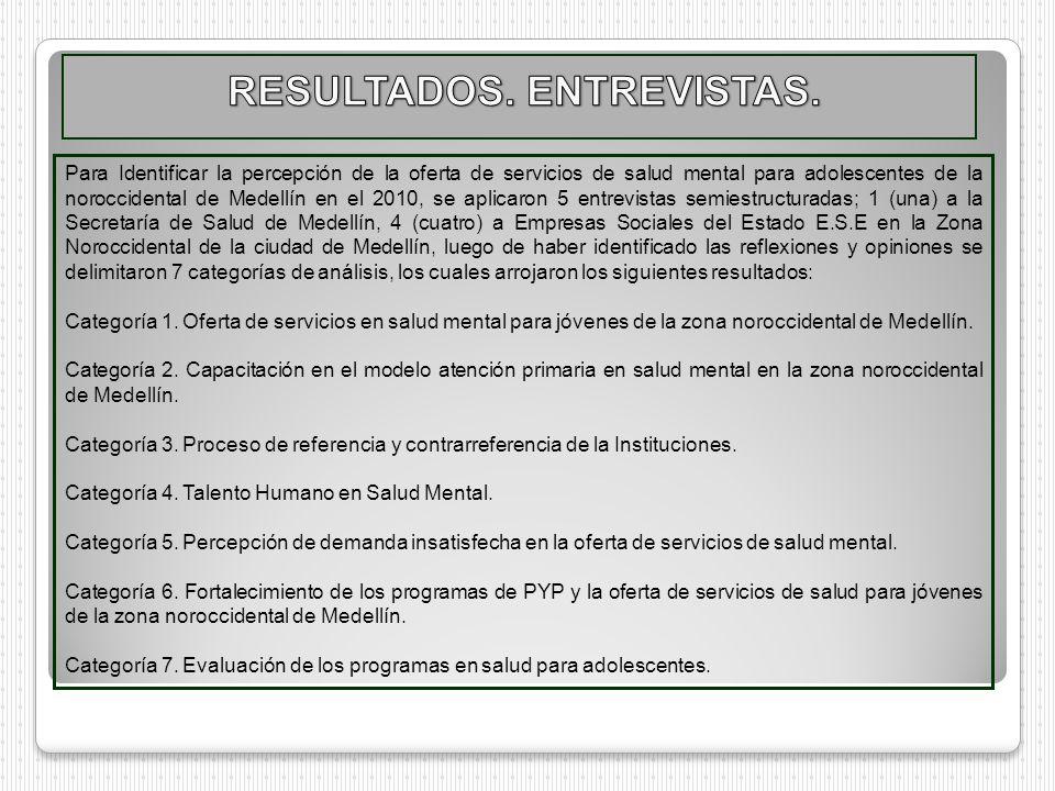 Para Identificar la percepción de la oferta de servicios de salud mental para adolescentes de la noroccidental de Medellín en el 2010, se aplicaron 5