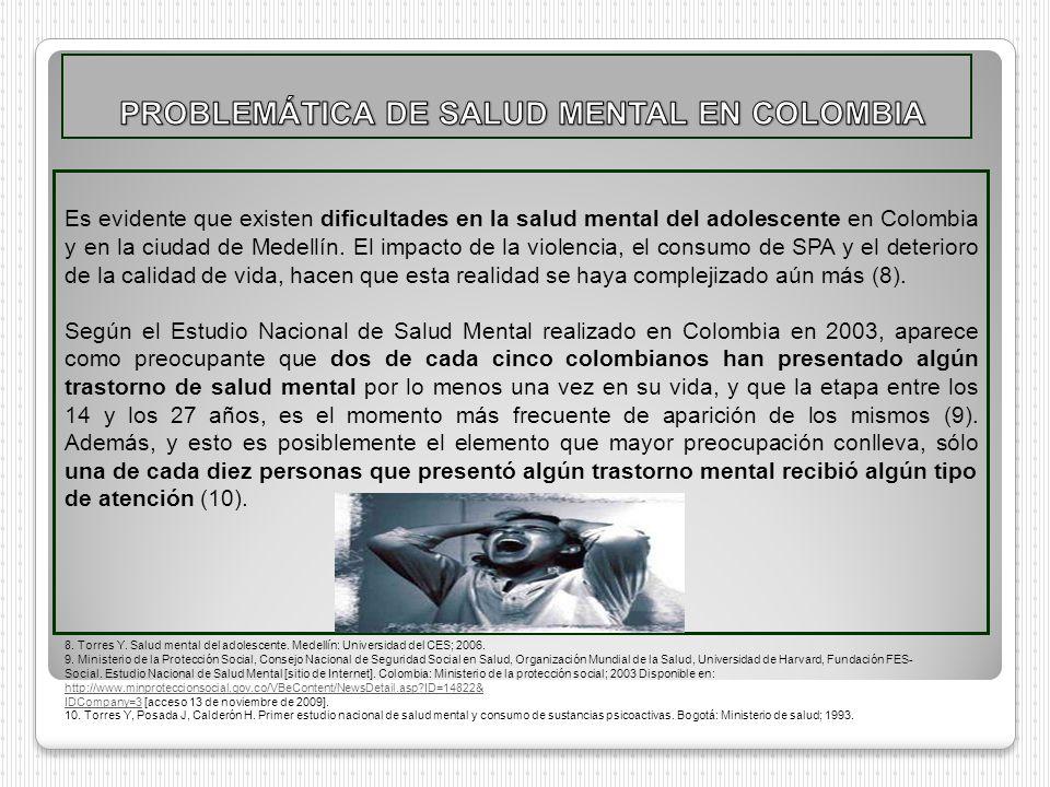 Es evidente que existen dificultades en la salud mental del adolescente en Colombia y en la ciudad de Medellín. El impacto de la violencia, el consumo