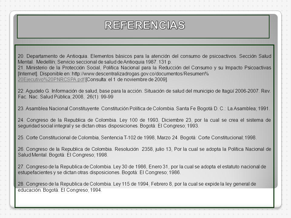 20. Departamento de Antioquia. Elementos básicos para la atención del consumo de psicoactivos. Sección Salud Mental. Medellín; Servicio seccional de s