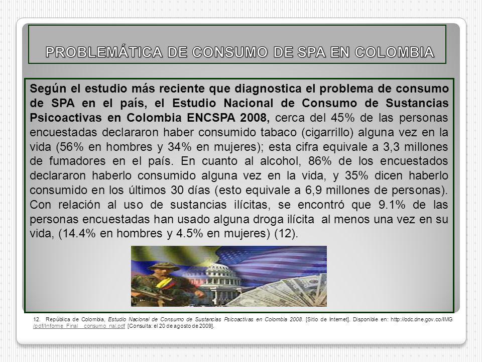 Según el estudio más reciente que diagnostica el problema de consumo de SPA en el país, el Estudio Nacional de Consumo de Sustancias Psicoactivas en C