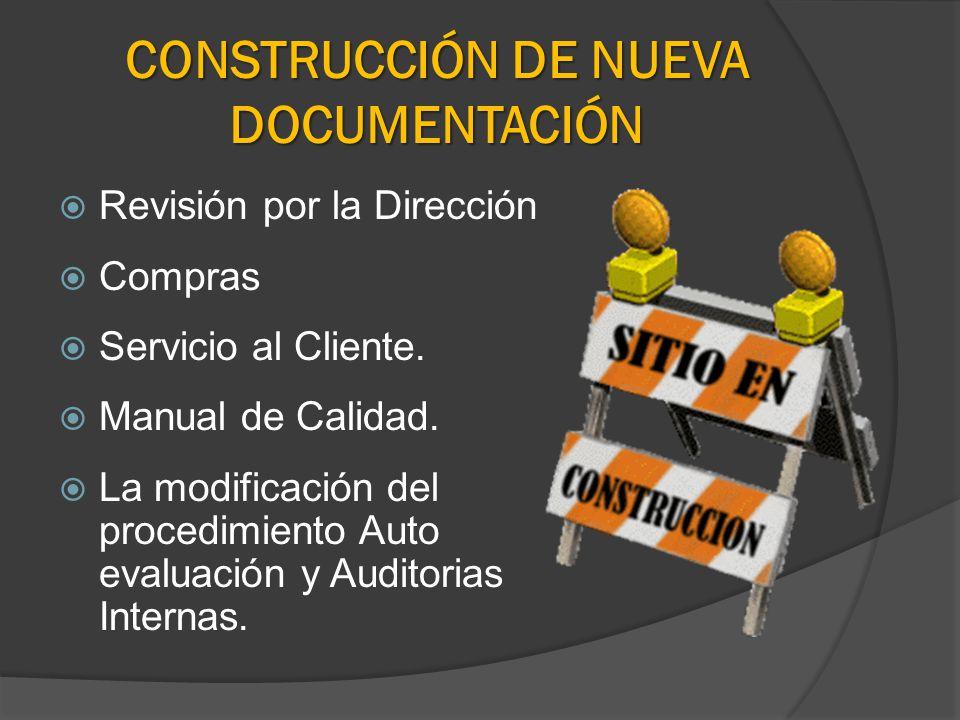 CONSTRUCCIÓN DE NUEVA DOCUMENTACIÓN Revisión por la Dirección Compras Servicio al Cliente. Manual de Calidad. La modificación del procedimiento Auto e