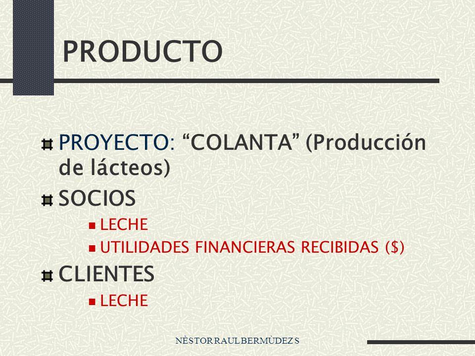 NÈSTOR RAUL BERMÙDEZ S PRODUCTO PROYECTO: COLANTA (Producción de lácteos) SOCIOS LECHE UTILIDADES FINANCIERAS RECIBIDAS ($) CLIENTES LECHE