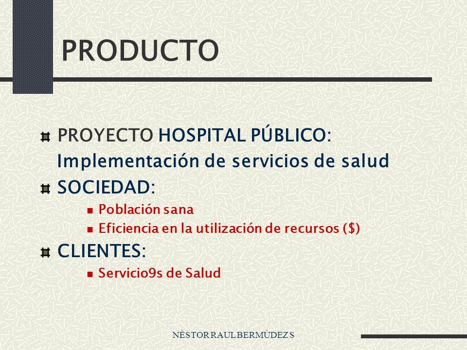 NÈSTOR RAUL BERMÙDEZ S PRODUCTO PROYECTO HOSPITAL PÚBLICO: Implementación de servicios de salud SOCIEDAD: Población sana Eficiencia en la utilización de recursos ($) CLIENTES: Servicio9s de Salud