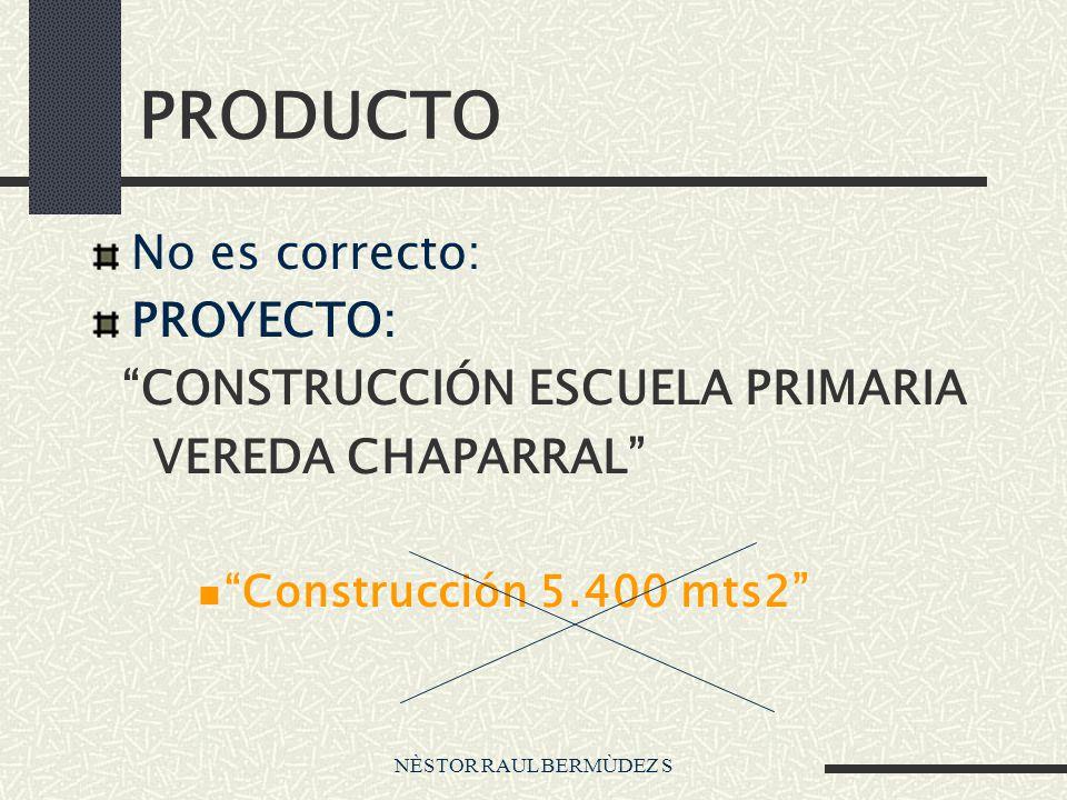 NÈSTOR RAUL BERMÙDEZ S PRODUCTO No es correcto: PROYECTO: CONSTRUCCIÓN ESCUELA PRIMARIA VEREDA CHAPARRAL Construcción 5.400 mts2