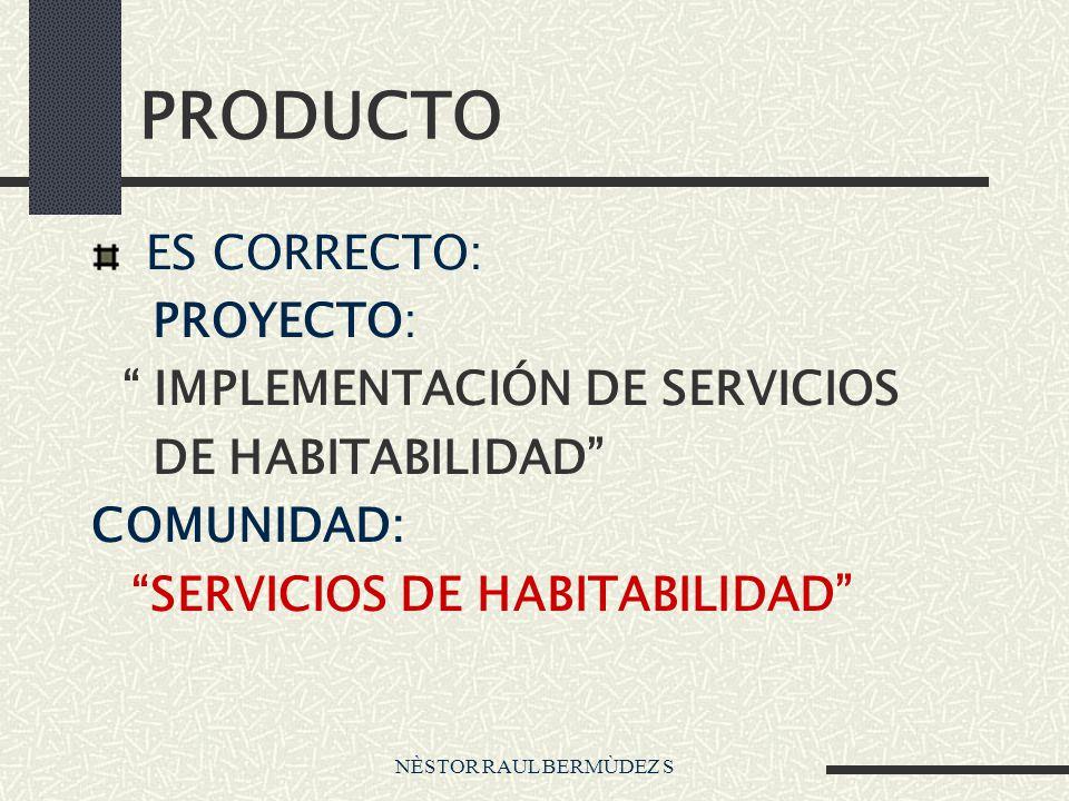 NÈSTOR RAUL BERMÙDEZ S PRODUCTO ES CORRECTO: PROYECTO: IMPLEMENTACIÓN DE SERVICIOS DE HABITABILIDAD COMUNIDAD: SERVICIOS DE HABITABILIDAD