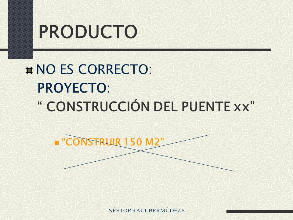 NÈSTOR RAUL BERMÙDEZ S PRODUCTO NO ES CORRECTO: PROYECTO: CONSTRUCCIÓN DEL PUENTE xx CONSTRUIR 150 M2