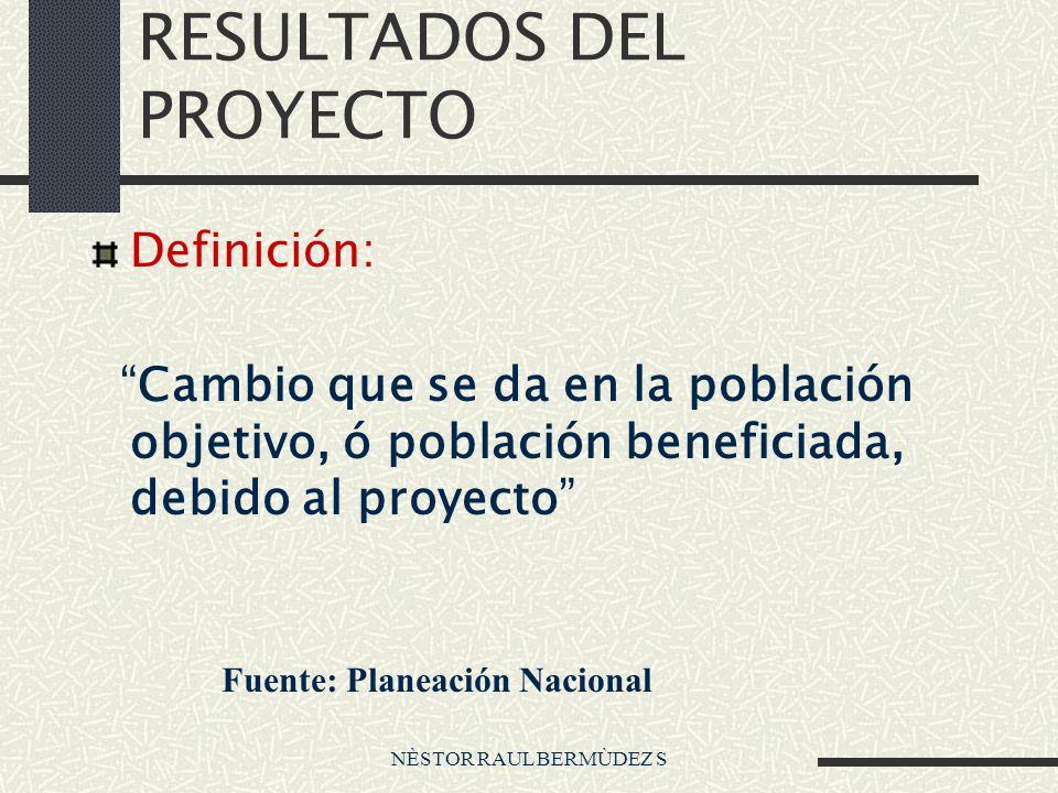 NÈSTOR RAUL BERMÙDEZ S RESULTADOS DEL PROYECTO Definición: Cambio que se da en la población objetivo, ó población beneficiada, debido al proyecto Fuente: Planeación Nacional