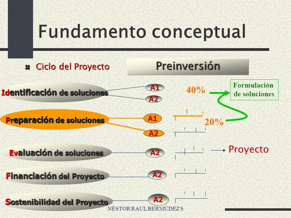 NÈSTOR RAUL BERMÙDEZ S Fundamento conceptual Ciclo del Proyecto Proyecto A2 Preinversión Id entificación de soluciones Pr eparación de soluciones Ev a