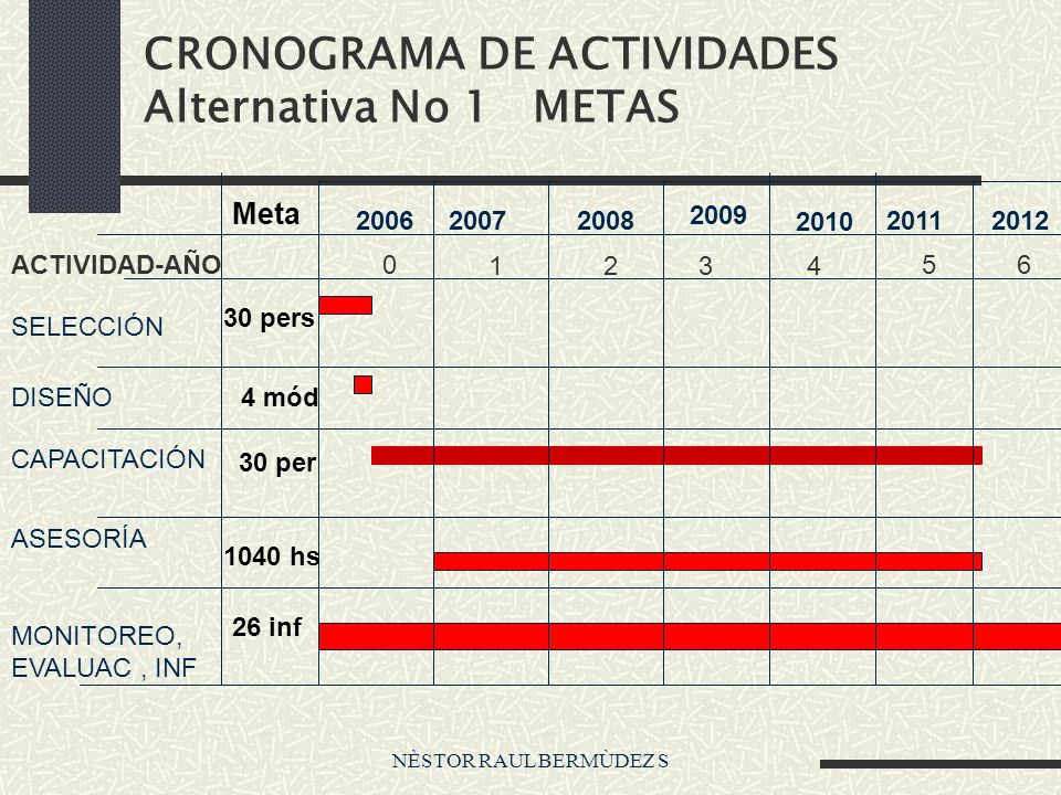 NÈSTOR RAUL BERMÙDEZ S CRONOGRAMA DE ACTIVIDADES Alternativa No 1 METAS 0 2413 56ACTIVIDAD-AÑO SELECCIÓN DISEÑO CAPACITACIÓN ASESORÍA MONITOREO, EVALUAC, INF 200620072008 2009 2010 20112012 Meta 30 pers 4 mód 30 per 1040 hs 26 inf