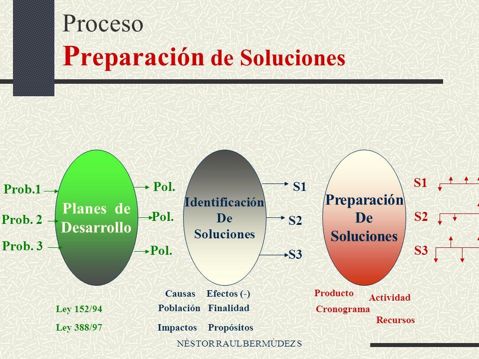 Proceso P reparación de Soluciones Planes de Desarrollo Identificación De Soluciones Preparación De Soluciones Prob.1 Prob. 2 Prob. 3 Pol. S1 S2 S3 S1