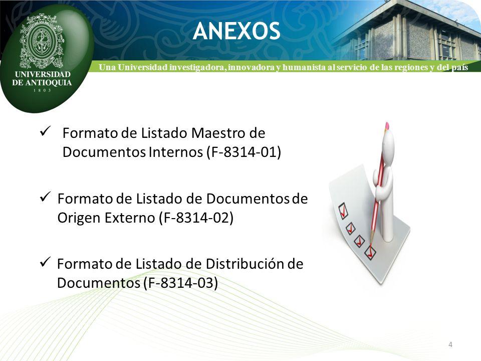 Una Universidad investigadora, innovadora y humanista al servicio de las regiones y del país ANEXOS Formato de Listado Maestro de Documentos Internos