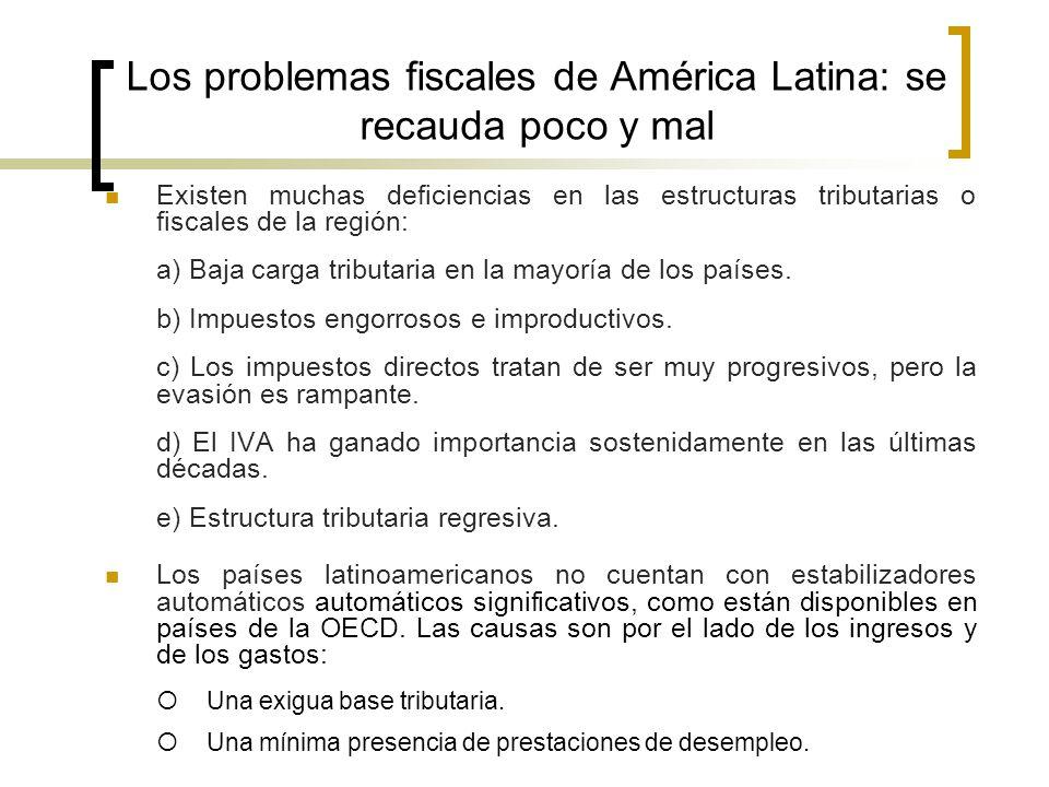 Los problemas fiscales de América Latina: se recauda poco y mal Existen muchas deficiencias en las estructuras tributarias o fiscales de la región: a)