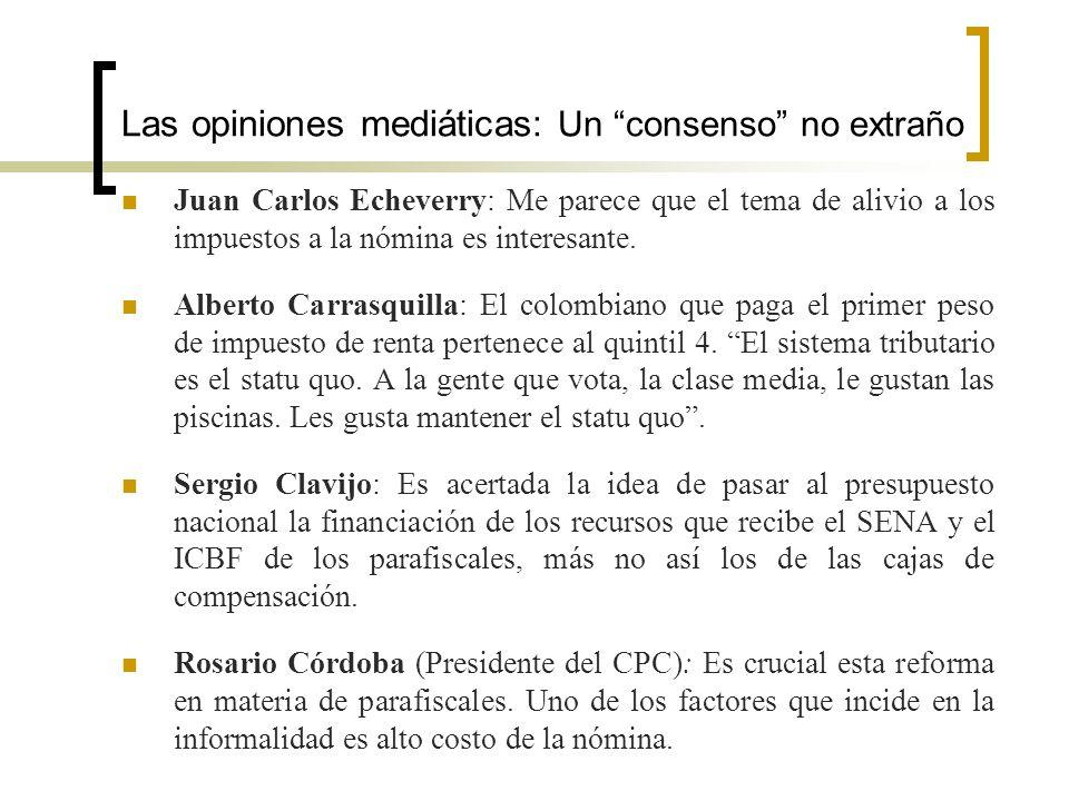 Las opiniones mediáticas: Un consenso no extraño Juan Carlos Echeverry: Me parece que el tema de alivio a los impuestos a la nómina es interesante. Al