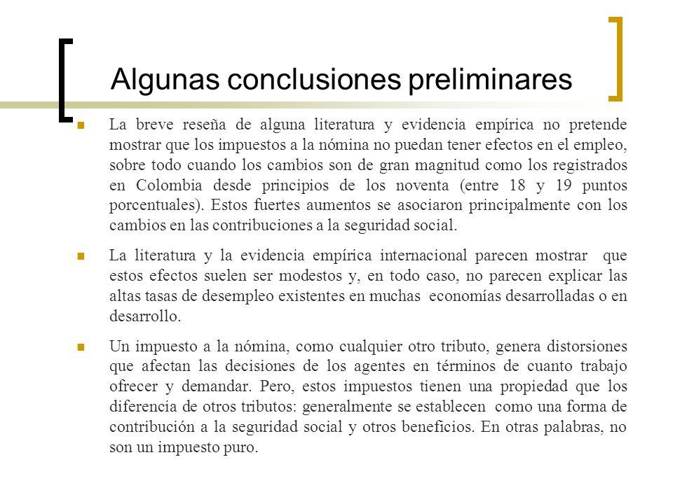 Algunas conclusiones preliminares La breve reseña de alguna literatura y evidencia empírica no pretende mostrar que los impuestos a la nómina no pueda