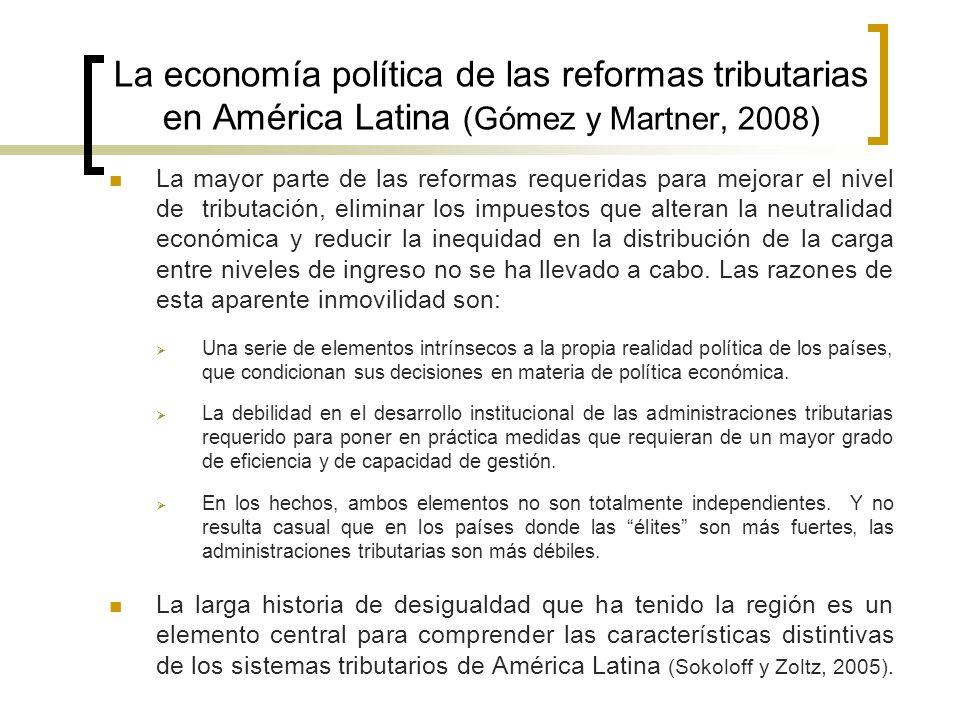 La economía política de las reformas tributarias en América Latina (Gómez y Martner, 2008) El patrón histórico de comportamiento de los grupos de élite muestra que los mismos han soportado una carga tributaria liviana a lo largo de los años.