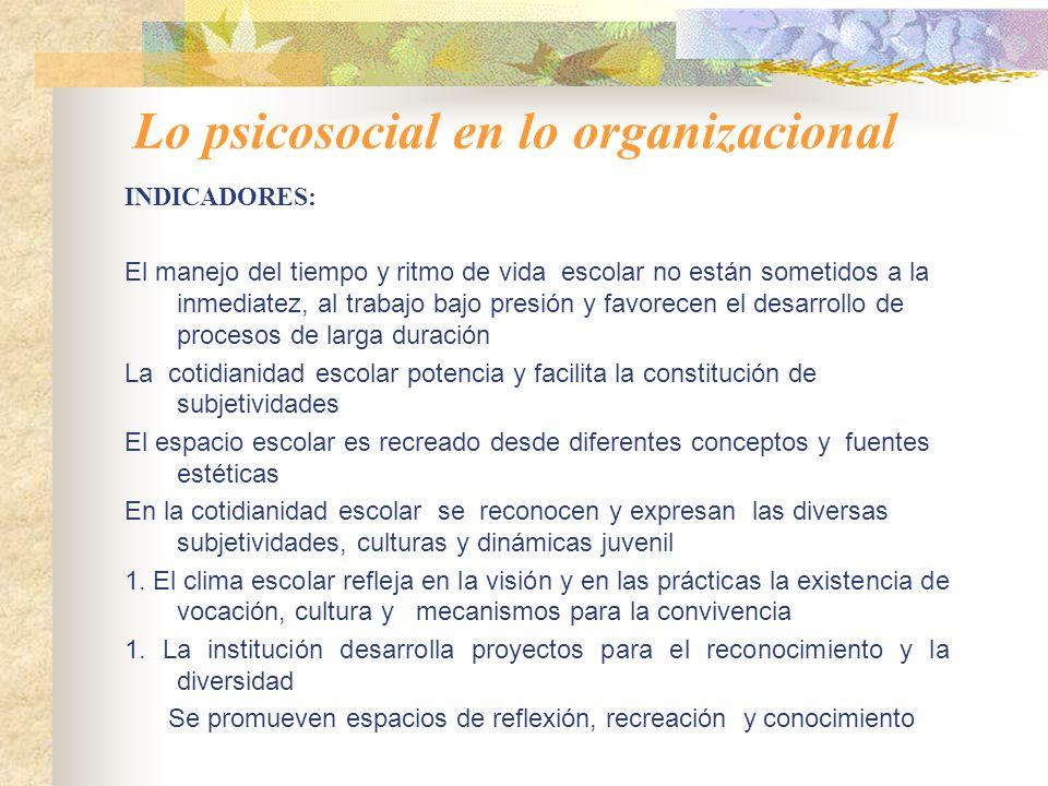 Lo psicosocial en lo organizacional VARIABLES: Clima escolar: ambientes formadores y saludables; adecuación del espacio y distribución del tiempo escolar; estética y entorno ecológico.