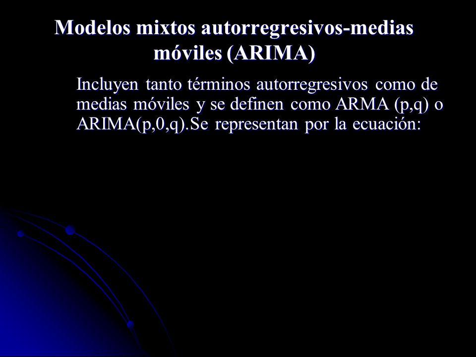 Modelos mixtos autorregresivos-medias móviles (ARIMA) Incluyen tanto términos autorregresivos como de medias móviles y se definen como ARMA (p,q) o AR