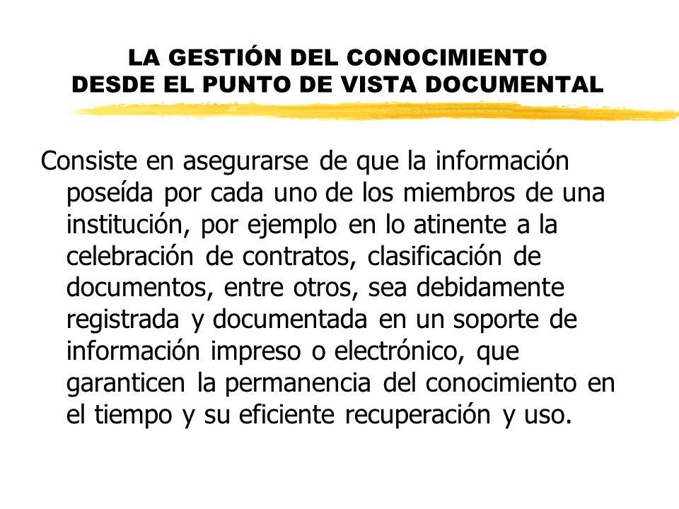 LA GESTIÓN DEL CONOCIMIENTO DESDE EL PUNTO DE VISTA DOCUMENTAL Consiste en asegurarse de que la información poseída por cada uno de los miembros de un