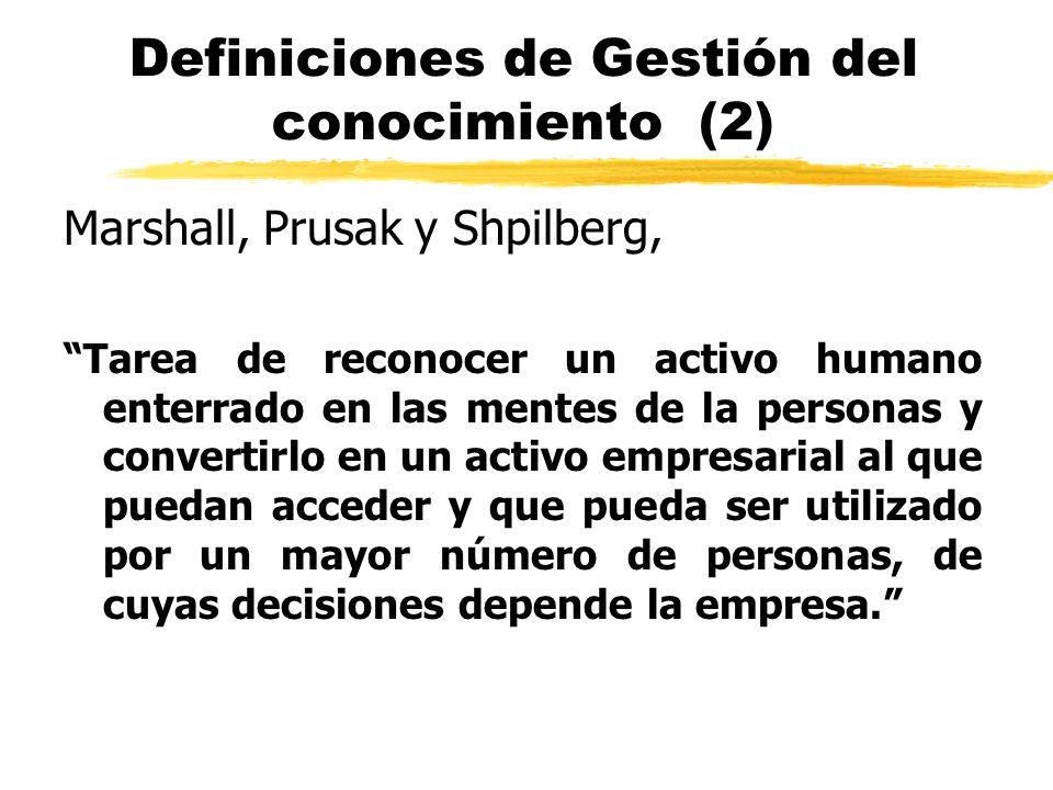 Definiciones de Gestión del conocimiento (2) Marshall, Prusak y Shpilberg, Tarea de reconocer un activo humano enterrado en las mentes de la personas