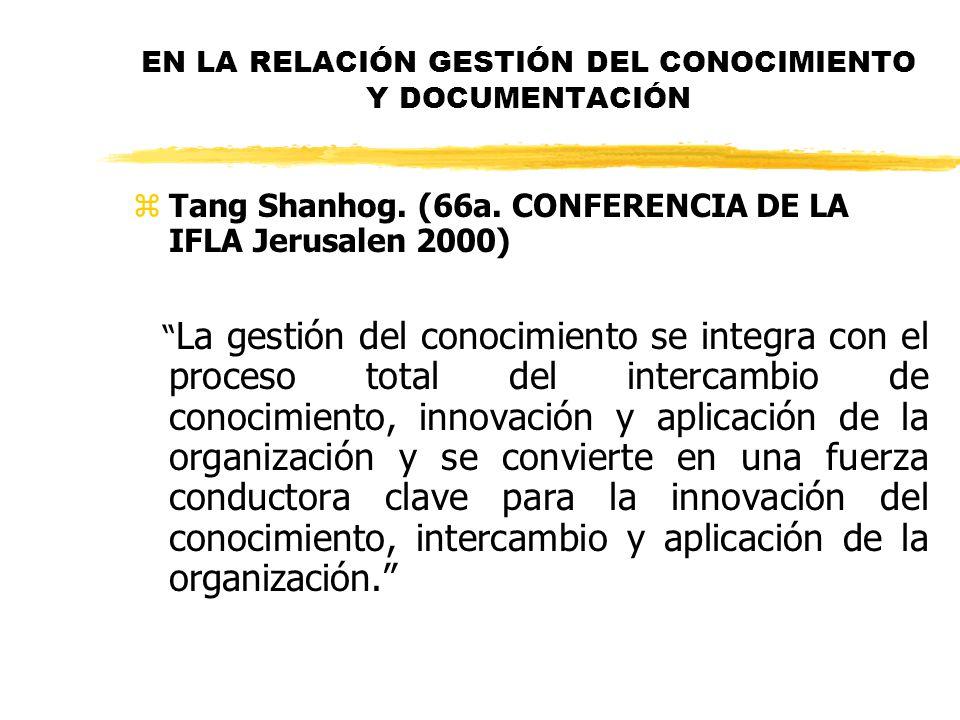 EN LA RELACIÓN GESTIÓN DEL CONOCIMIENTO Y DOCUMENTACIÓN zTang Shanhog. (66a. CONFERENCIA DE LA IFLA Jerusalen 2000) La gestión del conocimiento se int