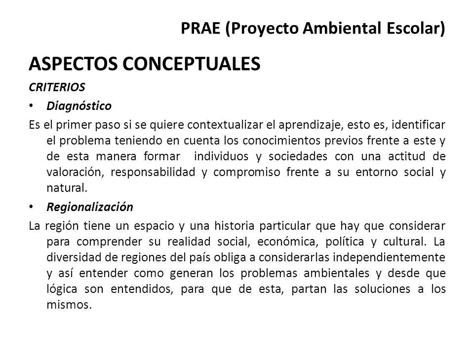 PRAE (Proyecto Ambiental Escolar) ASPECTOS CONCEPTUALES CRITERIOS Diagnóstico Es el primer paso si se quiere contextualizar el aprendizaje, esto es, i