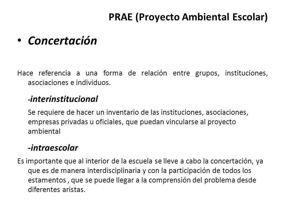 PRAE (Proyecto Ambiental Escolar) Concertación Hace referencia a una forma de relación entre grupos, instituciones, asociaciones e individuos. - inter