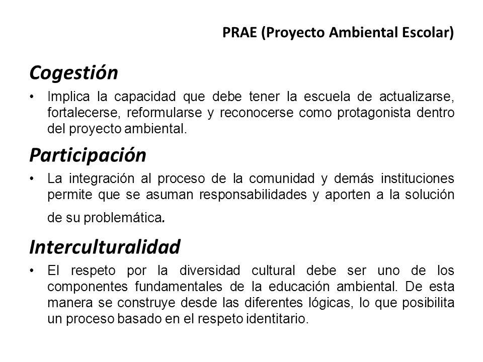 PRAE (Proyecto Ambiental Escolar) Cogestión Implica la capacidad que debe tener la escuela de actualizarse, fortalecerse, reformularse y reconocerse c