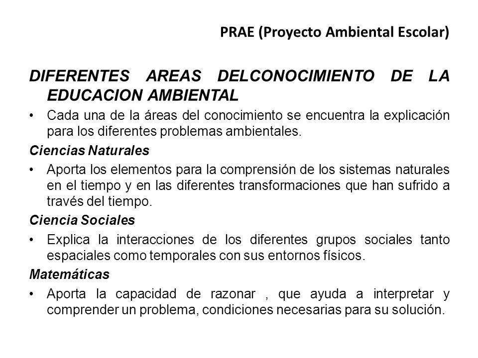 PRAE (Proyecto Ambiental Escolar) DIFERENTES AREAS DELCONOCIMIENTO DE LA EDUCACION AMBIENTAL Cada una de la áreas del conocimiento se encuentra la exp