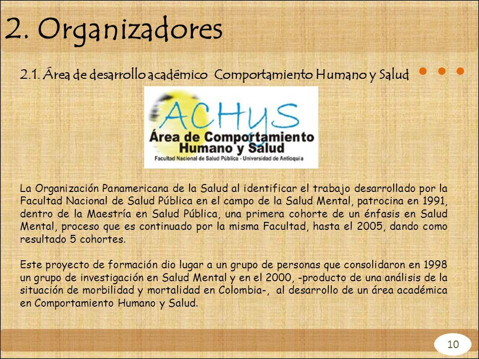 10 2. Organizadores 2.1. Área de desarrollo académico Comportamiento Humano y Salud La Organización Panamericana de la Salud al identificar el trabajo